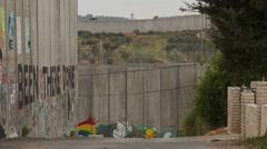 Israel - Palestine separation barrier wall graffiti art - stock footage