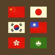 Stock Illustration of Flags of China, Japan, South Korea, Taiwan, Hong Kong and Macau
