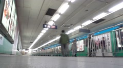Beijing metro,from Line 1 CBD exchang to Line 10, Slow shutter Stock Footage