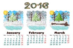 calendar 2016 nature - stock illustration