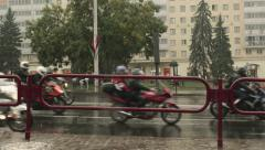 Motorcyclists on the rainy road. The closure of motorseason. Stock Footage