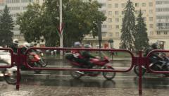 Motorcyclists on the rainy road. The closure of motorseason. Stock Footage