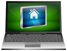 Laptop computer with Home Button - stock illustration