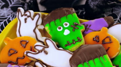 Variety of sweets prepared as Halloween treats. Stock Footage