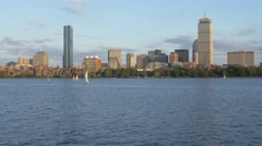 Charles River and Boston Skyline Stock Footage