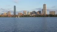 Stock Video Footage of Charles River and Boston Skyline