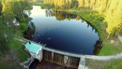 Aerial footage.Dam and hydroelectric power plant. Stock Footage