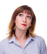Closeup portrait of sad and depressed woman isolated on white Kuvituskuvat
