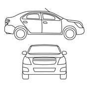 Drawing car, vector illustration, side view and front - stock illustration