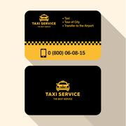 Business card taxi driver, flat modern trendy style yellow and black plastic - stock illustration