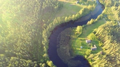 Aerial footage. Lake and forest landscape. Stock Footage