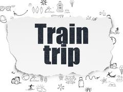 Stock Illustration of Tourism concept: Train Trip on Torn Paper background