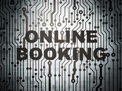 Vacation concept: circuit board with Online Booking - stock illustration
