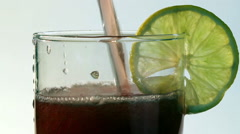 Red Carbonated Drink Poured Into Glass Lemon Stock Footage