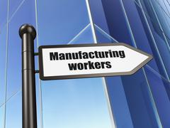 Industry concept: sign Manufacturing Workers on Building background Stock Illustration