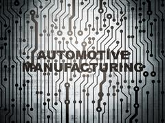 Manufacuring concept: circuit board with Automotive Manufacturing - stock illustration