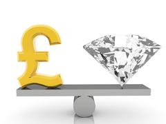 Stock Illustration of British Pound sign and gem on seesaw on white