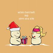 Vector comic cartoon merry christmas illustration - stock illustration