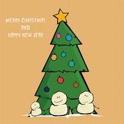Vector comic cartoon merry christmas illustration - stock illustration