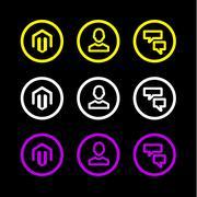 Business icon logo symbol man hour chat flat vector Stock Illustration