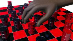 Stock Video Footage of Game of checkers played with oils drums, 3D animation
