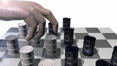 Game of checkers played with oil drums, 3D animation Stock Footage