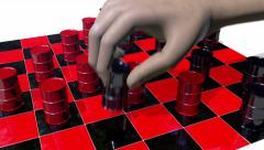Game of checkers played with oils drums, 3D animation Arkistovideo