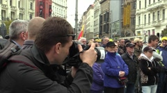 Demonstration against Islam, photographer and cameraman in action Stock Footage