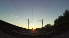 Train, view from below. Sunset Stock Footage