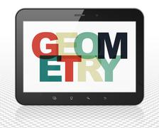 Studying concept: Tablet Pc Computer with Geometry on  display Stock Illustration