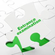 Stock Illustration of Learning concept: Entrance Examination on puzzle background