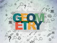Learning concept: Geometry on Digital Paper background Stock Illustration
