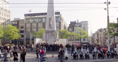 Amsterdam Liberation Monument Dam Square Stock Footage