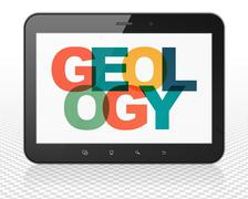 Science concept: Tablet Pc Computer with Geology on  display Stock Illustration