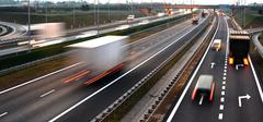 Four lane controlled-access highway in Poland... - stock photo