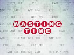 Timeline concept: Wasting Time on Digital Paper background - stock illustration
