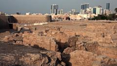 Stock Video Footage of View of Manama City from Qal'at Al-Bahrain Fort, Bahrain