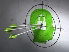 Finance concept: arrows in Head With Padlock target on wall background Stock Illustration