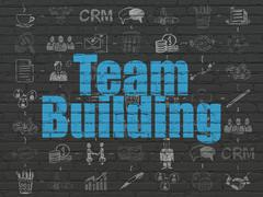 Finance concept: Team Building on wall background - stock illustration