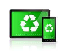 3D Digital tablet PC with a recycling symbol on screen. environmental conserv - stock illustration