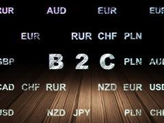 Stock Illustration of Business concept: B2c in grunge dark room