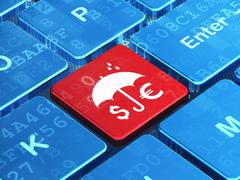 Stock Illustration of Protection concept: Money And Umbrella on computer keyboard background