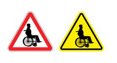 Stock Illustration of Attention disabled on wheelchair. Warning sign about  person in wheelchair. R