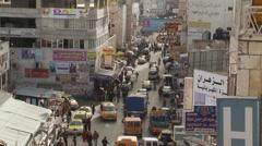 Ramallah, main street traffic, static shot, Occupied Palestinian Territories Stock Footage