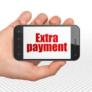 Money concept: Hand Holding Smartphone with Extra Payment on display Stock Illustration