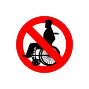Stop disabled. Prohibited person on wheelchair. Ban for people with disabilit - stock illustration
