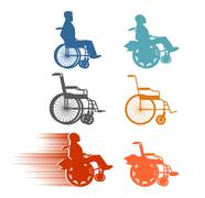 Stock Illustration of Set invalid. Collection of silhouettes of various disabilities and wheelchair