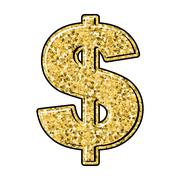 Gold dollar. Currency sign of precious metal. American national money. Stock Illustration