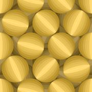 Gold 3D Balls seamless pattern. Three-dimensional vector background. Abstract Stock Illustration