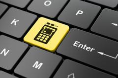 Money concept: ATM Machine on computer keyboard background - stock illustration